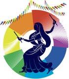 Garba (Dandia) es una danza india stock de ilustración