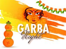 Garba Night event celebration background with face of goddess Du. Rga on abstract floral, brush stroke background Royalty Free Stock Photos