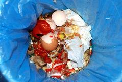 Garbage. From different food closeup Stock Photos