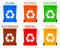 Garbage. All kinds of garbage containers glass, plastic, paper, etc Stock Images