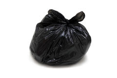 Garbage bag. Isolated, roped, on white background stock photo