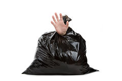 Garbage Bag and hand Stock Photos