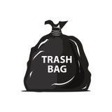 Garbage bag icon. Black filled garbage bag illustration, icon design, isolated on white background Royalty Free Stock Image