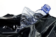 Garbage bag. With plastic bottles Stock Images