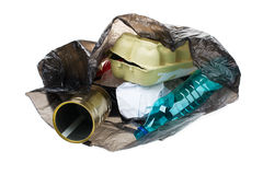 Garbage bag with recyclable trash isolated on white Royalty Free Stock Image
