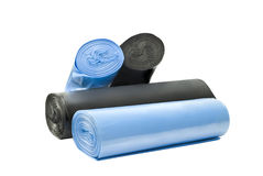 Garbage bags. Plastic degradable blue and black garbage bags Royalty Free Stock Photo