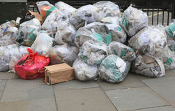 Garbage bags. Big pile of waste due municipal union worker strike Royalty Free Stock Photography
