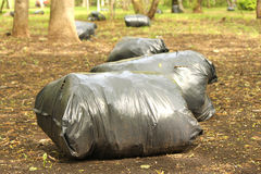 Garbage bags fool of garbage. In the clean garden Stock Photos