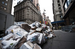 Garbage bags on the sidewalk in New York City, USA Royalty Free Stock Photography