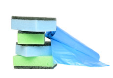 Garbage bags and sponges. For cleaning Stock Photography