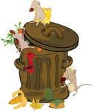 Garbage bank and rats. Cartoon royalty free stock image