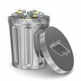 Garbage basket with dollars on white background Royalty Free Stock Images