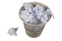 Garbage basket with dust. Office arbage basket with dust Royalty Free Stock Images