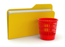 Garbage basket and folder (clipping path included) Stock Photography