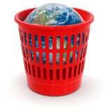 Garbage basket with Globe (clipping path included) Royalty Free Stock Photos