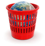 Garbage basket with Globe (clipping path included) Stock Photo