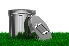 Garbage basket on grass. Isolated 3D image Stock Photo