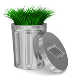 Garbage basket and grass on white background. 3D image Stock Photo