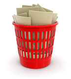 Garbage basket and letters (clipping path included) Royalty Free Stock Photos