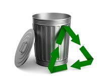 Garbage basket on white background. Isolated 3D illustration Royalty Free Stock Image