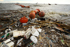 Garbage on the beach Stock Photos