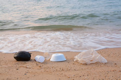 Garbage. On the beach.Concept of dirtiness Stock Photos