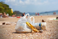 Garbage on a beach, environmental pollution concept picture Stock Photography