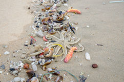 Garbage on a beach, environmental pollution Stock Photography