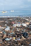 Garbage on a beach stock photography