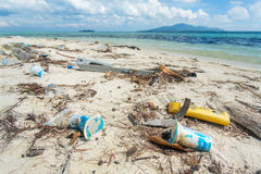 Garbage on the beach Royalty Free Stock Photo
