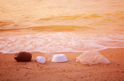 Garbage. On a beach left by tourists, environmental pollution concept picture Royalty Free Stock Photo