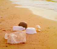 Garbage. On a beach left by tourists, environmental pollution concept picture Royalty Free Stock Photography