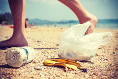 Garbage on a beach left by tourists. Stock Photography