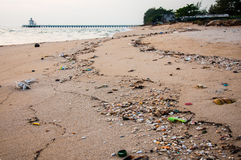 Garbage on the beach. Rayong, Thailand Royalty Free Stock Photos