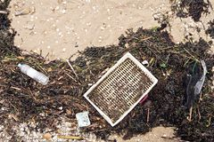 Sea pollution concept. Garbage on the beach. Garbage on the beach. Sea plastic pollution concept. Top view stock photography