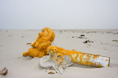 Garbage on a beach Stock Image