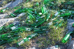 Garbage beer bottles Stock Photo