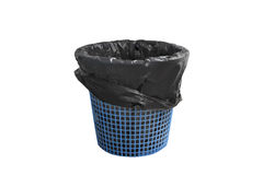 Garbage bin basket with empty black bag but without cover , isolated on white background with clipping path. Royalty Free Stock Image
