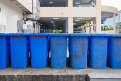 Garbage bin blue old sorted. Garbage bin blue old dirty sorted stock photography