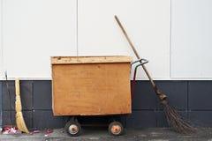 Garbage Bin, broom and dustpan Stock Image
