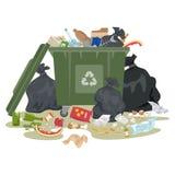 Garbage bin full of trash on white background. vector illustration