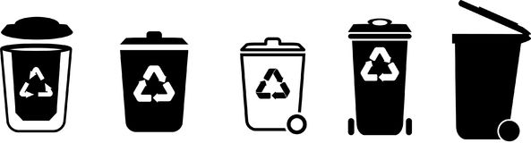 Garbage bin icons set in vector Royalty Free Stock Photo