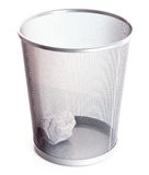 Garbage bin with paper isolated Royalty Free Stock Photo