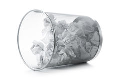 Garbage bin with paper waste isolated Royalty Free Stock Photo