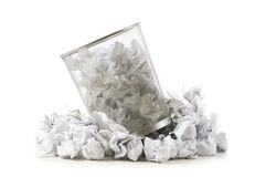 Garbage bin with paper waste isolated Royalty Free Stock Images