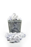 Garbage bin with paper waste Stock Photos