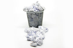 Garbage bin with paper waste Royalty Free Stock Photos