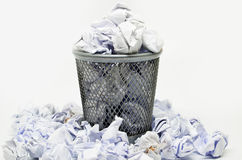 Garbage bin with paper waste Stock Images
