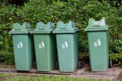 Garbage bin  in the park Royalty Free Stock Image