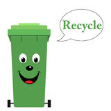 Garbage bin with recycle text Stock Photos